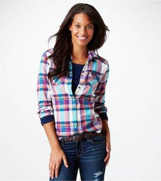 American Eagle AE Plaid Flannel Western Shirt