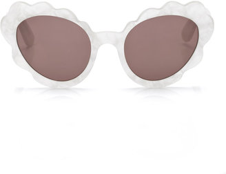 Opening Ceremony Accessories Flower Cat Eye Sunglasses in Off White Pearl