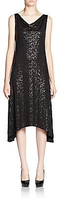 Eileen Fisher Draped Sequin Silk Dress