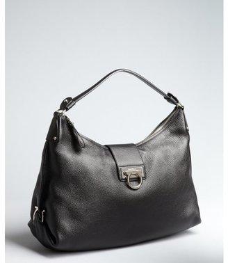 Salvatore Ferragamo black grained leather gancio buckled shoulder bag