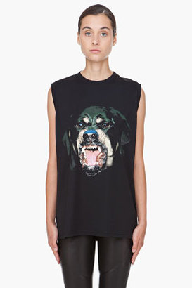 Givenchy Black Rottweiler Tank Top