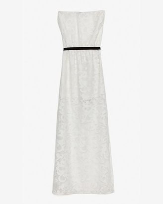 Miguelina Exclusive Contrast Sash Belt Strapless Embroidery Lace Dress