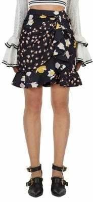 Self-Portrait Self Portrait Mixed Floral Ruffle Skirt