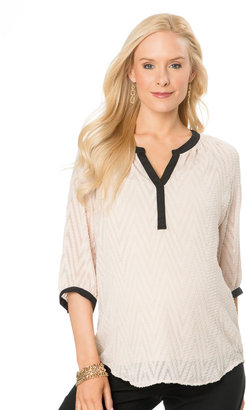 Motherhood 3/4 Sleeve Decorative Trim Maternity Blouse