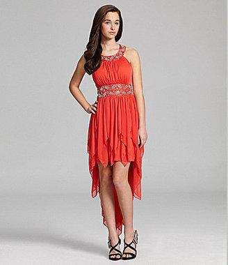 Sequin Hearts Jeweled Hi-Low Dress