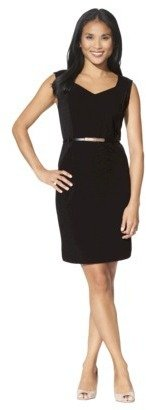 Mossimo Petites Cap-Sleeve Belted Ponte Dress - Assorted Colors