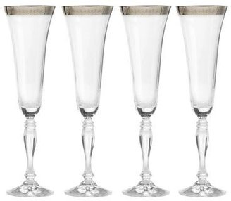 Mikasa Platinum Crown Flute Glasses, Set of 4