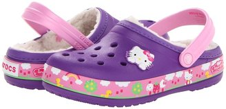 Crocs Crocband Hello Kitty Fair Lined Clog (Toddler/Little Kid) (Neon Purple) - Footwear