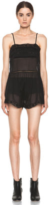 Etoile Isabel Marant Greg Cotton Voile and Lace Romper in Noir