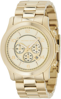 Michael Kors Men's Chronograph Runway Gold-Tone Stainless Steel Bracelet Watch 44mm MK8077 $275 thestylecure.com