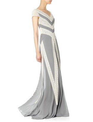 Temperley London Grey Pleats And Lace Maxi Dress