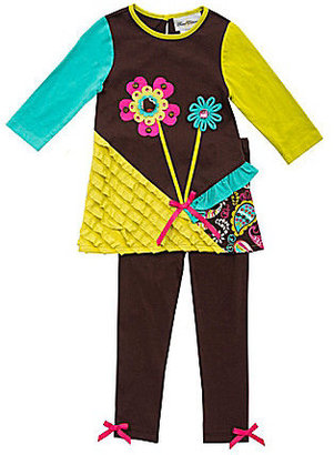 Rare Editions 2T-6X Colorblocked/Mixed-Media Knit Top & Solid Leggings Set