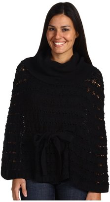 Anne Klein Belted Poncho Sweater (Black) - Apparel
