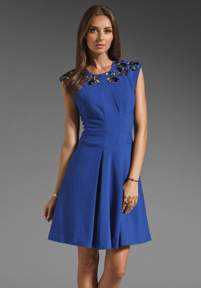 Tracy Reese Wide Awake Stretch Double Face Frock with Necklace Dress