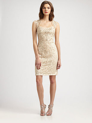 Sue Wong Embroidered Cap-Sleeve Dress