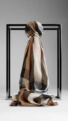 Burberry Check Linen Scarf