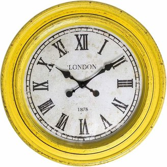 Casa Uno London Roman Numerals Round Wall Clock, 61cm, Aura Yellow