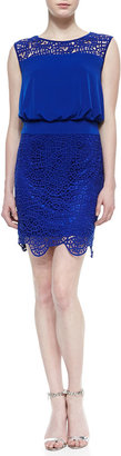 Laundry by Shelli Segal Sleeveless Lace Blouson Dress, Blue Beret