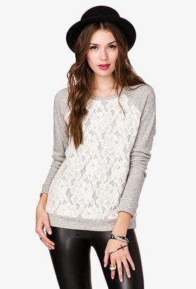 Forever 21 Lace Overlay Sweatshirt