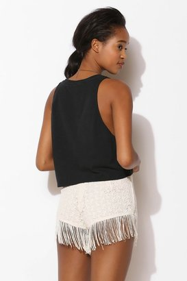 Urban Outfitters Pins And Needles Fringe-Trim Lace Short