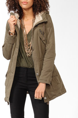 Forever 21 Faux Fur Cargo Coat