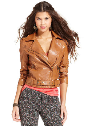 American Rag Juniors Jacket, Faux-Leather Belted Moto