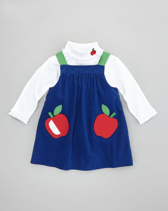 Florence Eiseman Turtleneck with Embroidered Apple, White