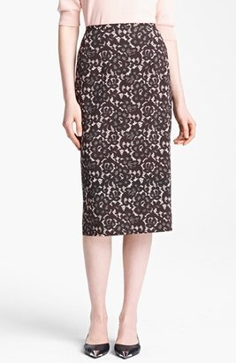 Michael Kors Guipure Print Stretch Cady Pencil Skirt