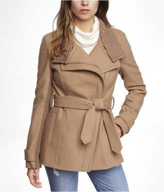 Express Asymmetrical Knit Trimmed Wool Blend Coat