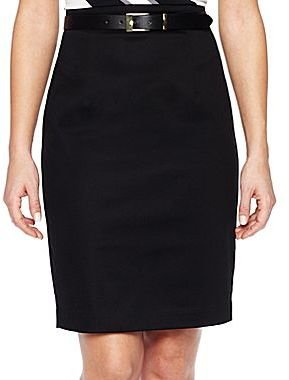 JCPenney Worthington Belted Sateen Pencil Skirt