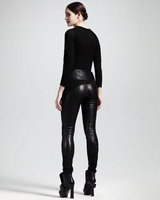 Alexander McQueen Skinny Suede/Leather Pants