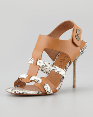 Pedro Garcia Mariel Python-Print Leather Sandal, Maple