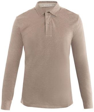 Zegna Cotton-pique long-sleeve polo top