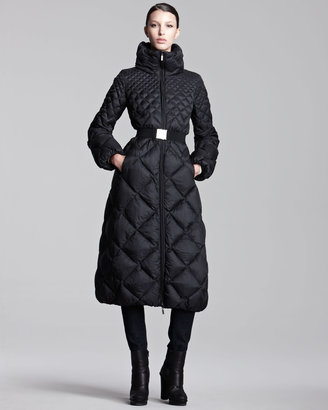 Moncler Long Diamond-Quilted Belted Puffer Coat