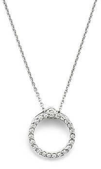 Roberto Coin 18K White Gold and Diamond Extra Small Circle Necklace, 16