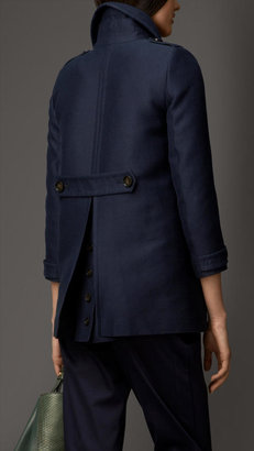 Burberry Cotton Silk Structured Pea Coat