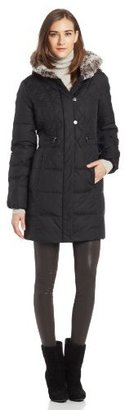 Larry Levine Women's 3/4 Length Hooded Down Coat with Teddy Soft Faux Fur Trim