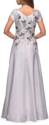 La Femme Floral Embellished Cap-Sleeve A-Line Mikado Gown