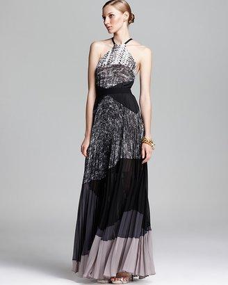 BCBGMAXAZRIA Halter Neck Pleated Gown - Color Block