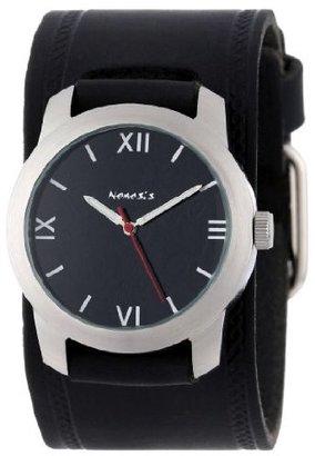 Nemesis #HST068K Men's Elite Collection Roman Black Dial Wide Leather Cuff Band Watch