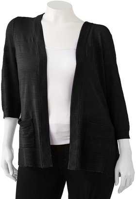 Croft & barrow ® slubbed open-front cardigan - women's plus