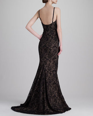 Vera Wang Floral Chantilly Lace Gown, Black