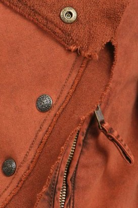 Free People Collapsing Twill Snap Jacket in Henna