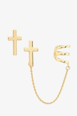 Gold Cross Earring & Cuff