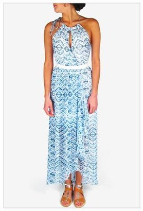 Twelfth St. By Cynthia Vincent by Cynthia Vincent Calabar Cross Front Maxi Wrap Dress in Blue Tribal Ikat