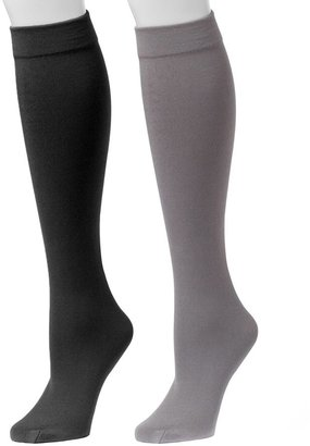 Muk Luks Women's Fleece-Lined Knee-High Socks 2-Pair Pack