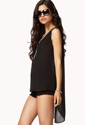 Forever 21 Contemporary Spiked Shoulder High-Low Top
