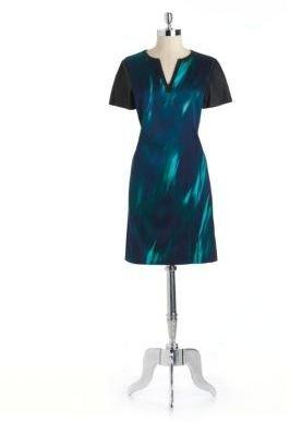 Elie Tahari Stretch Silk Shift Dress With Leather Trim