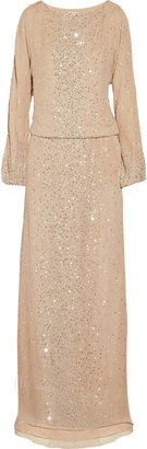 Haute Hippie Sequin-scattered silk-chiffon gown
