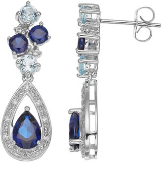 Sterling Silver Lab-Created Blue & White Sapphire Teardrop Earrings
